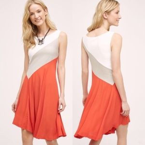Maeve color block cameroon sleeveless dress orange